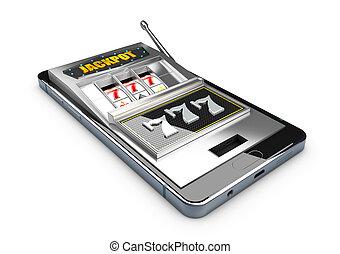 Smartphone with casino slot machine on screen. 3d illustration