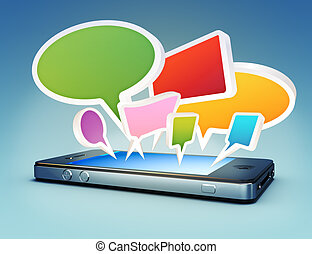 Smartphone with chat bubble - Smartphone with social media...