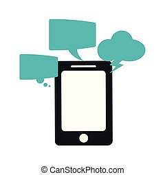 Smartphone with chat bubbles