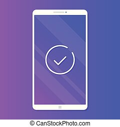 Smartphone with check mark. Mobile phone with line checkmark icon. Modern vector illustration