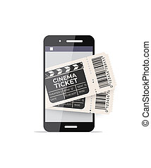 Smartphone with cinema tickets on the screen. Vector online technology illustration.