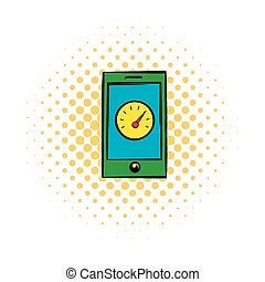 Smartphone with clock icon, comics style