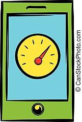 Smartphone with clock icon, icon cartoon