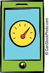 Smartphone with clock icon, icon cartoon