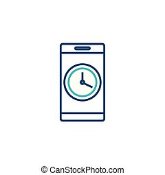 smartphone with clock line style icon