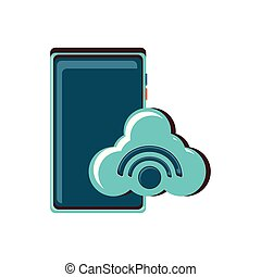 smartphone with cloud computing and wifi signal