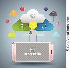 Smartphone with cloud computing concept.