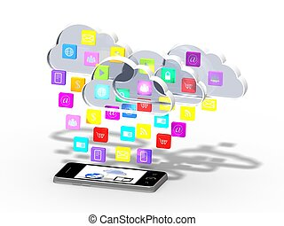 smartphone with cloud of applicatio