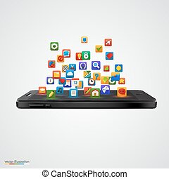 Smartphone with cloud of application icons.