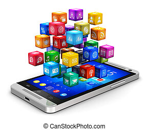 Smartphone with cloud of icons - Creative abstract mobile ...