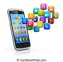 Smartphone with cloud of icons