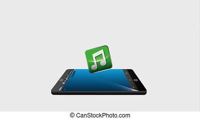 smartphone with cloud storage music and video player