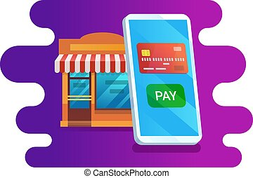 Smartphone with credit card and shop building