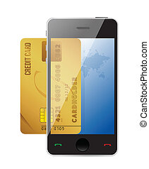 smartphone with credit card, concept digital payment...