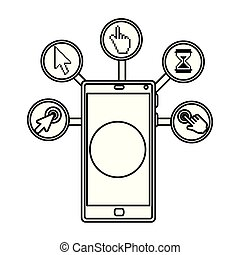 smartphone with digital set icons