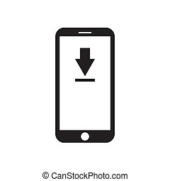 Smartphone with download icon on the screen