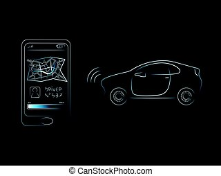 smartphone with driver and map icon next to taxi car