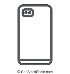 Smartphone with dual camera line icon, communication and device, phone sign, vector graphics, a linear pattern on a white background.