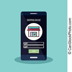 smartphone with ecommerce application