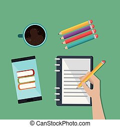 smartphone with education easy e-learning icons