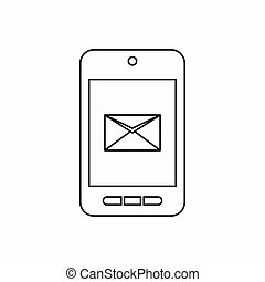 Smartphone with email symbol on the screen icon