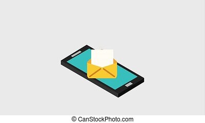 smartphone with envelope message digital animation