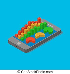 Smartphone with financial bar chart.