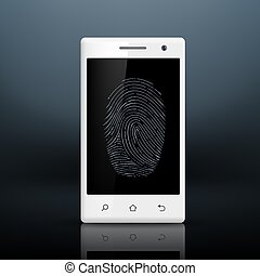 Smartphone with fingerprint on the screen