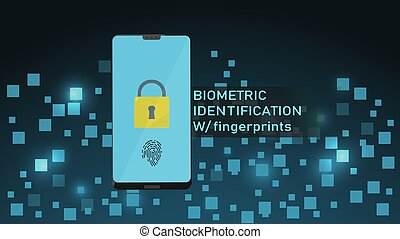 Smartphone with Fingerprint Recognition Concept, Login or Sign Up. Smartphone Screen with Built in Fingerprint Scanner. Responsive web template design.