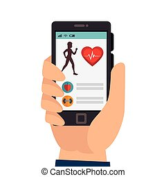 smartphone with fitness app isolated icon