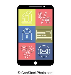 Smartphone with flat app icons, on white background