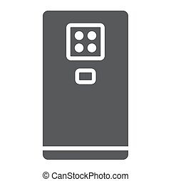 Smartphone with four camera glyph icon, gadget and communication, phone sign, vector graphics, a solid pattern on a white background.