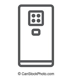Smartphone with four camera line icon, gadget and communication, phone sign, vector graphics, a linear pattern on a white background.
