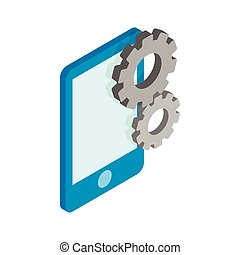 Smartphone with gears icon, isometric 3d style