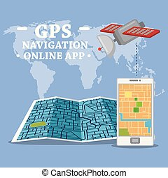 Smartphone with gps map navigation app  Creative abstract gps