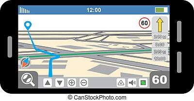 Smartphone with GPS navigator