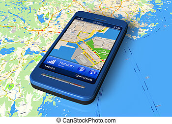Smartphone with GPS on map - Smartphone with GPS navigator...