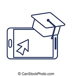 smartphone with graduation cap , line style icon