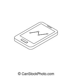 Smartphone with graph icon, isometric 3d style