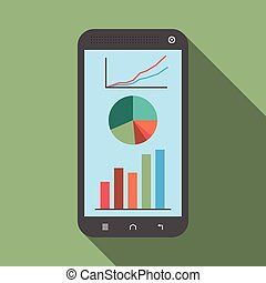 Smartphone with graphs, diagrams