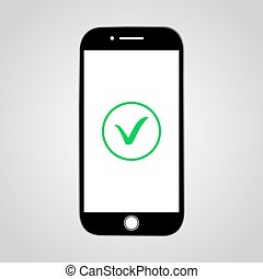 Smartphone with green check icon.