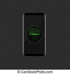 Smartphone with green face scan icon