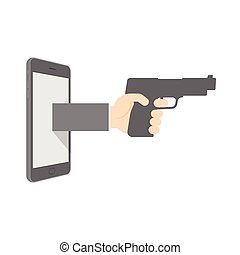 Smartphone with hand holding gun set internet cyber crime concept idea illustration isolated on white background, with copy space