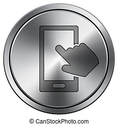 Smartphone with hand icon. Round icon imitating metal.