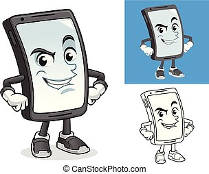 Smartphone with Hands on Hips Cartoon Character Mascot Illustration