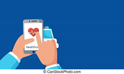 smartphone with healthcare online and ambulance ,4k video animated