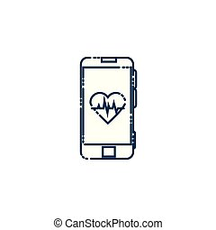 smartphone, with heart cardio flat style icon