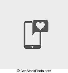 Smartphone with heart icon in a flat design in black color. Vector illustration eps10