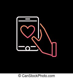 Smartphone with Heart in Hand vector colorful outline icon