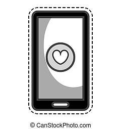 smartphone with heart isolated icon